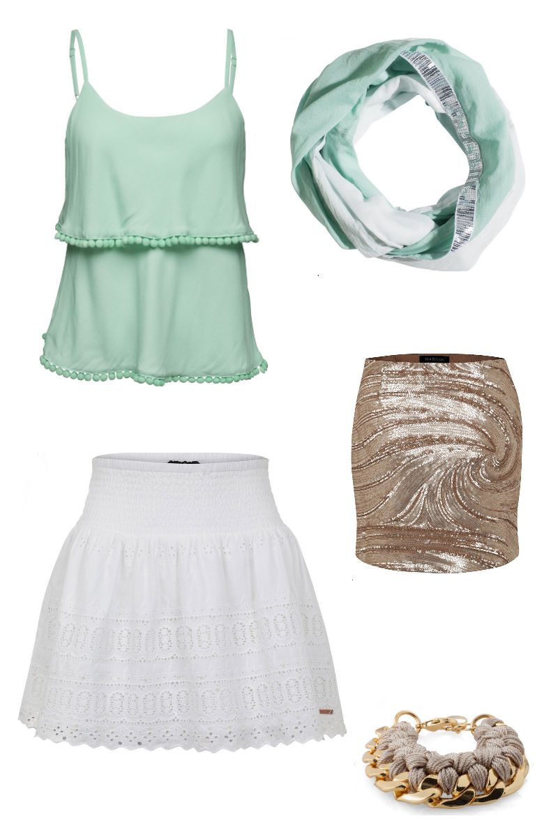 about_you_aboutyou_outfit_summer_sommer_summeroutfit_gold_glitzer_türkis_codello_schal