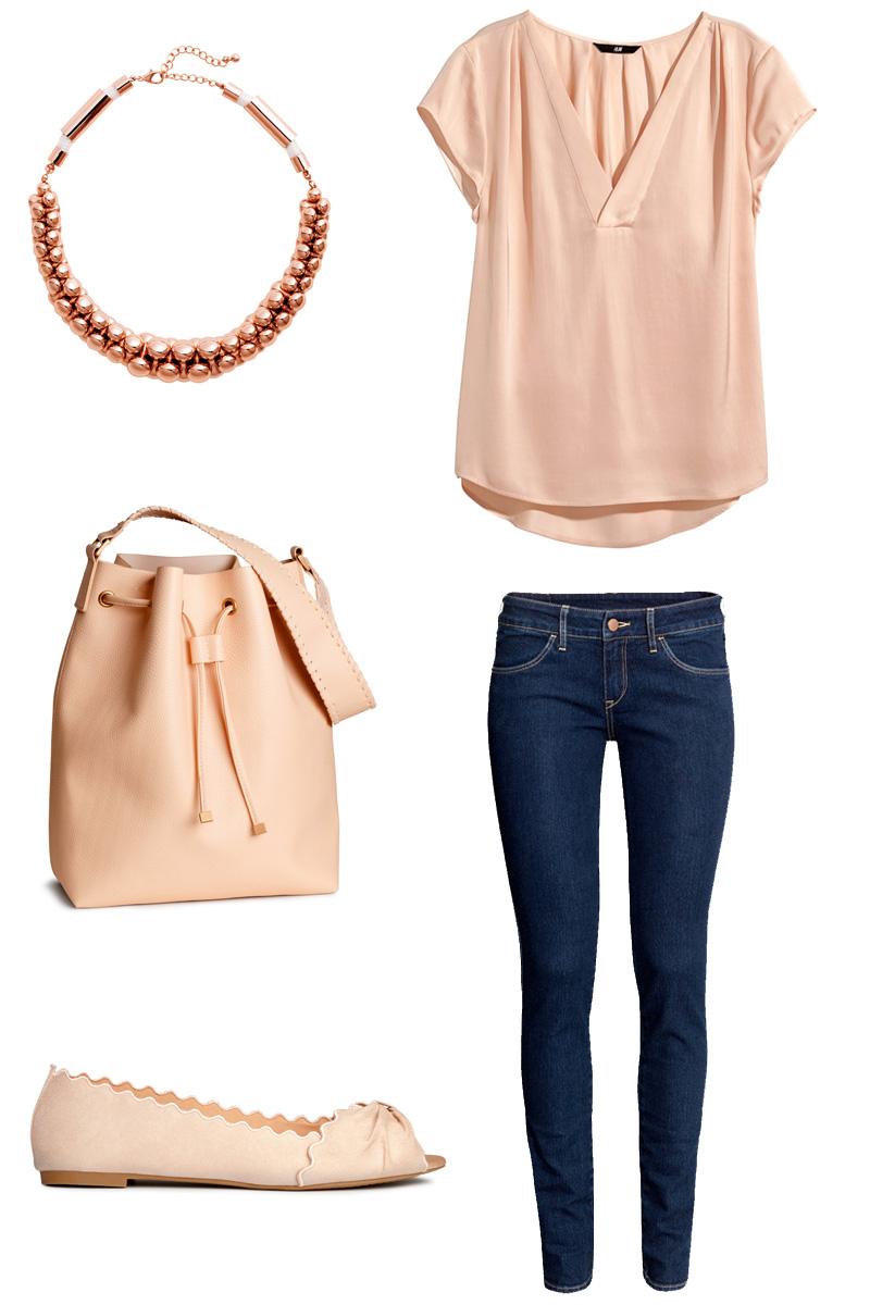 summer-spring-sommer-fruehling-outfit-mode-fashion-rosa-altrosa-rose-rotgold-jeans-denim-beuteltasche-tasche-handtasche-ballerinas-kette-necklace